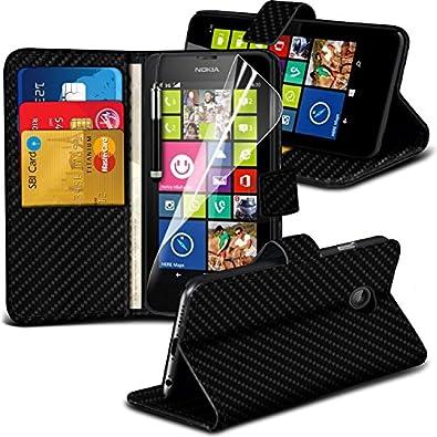 ( Black Carbon ) Nokia Lumia 630 Hülle Abdeckung Cover Case schutzhülle Tasche Book PU-Leder Carbon Wallet Ständer Flip Mit 2 Kredit- / Bank-Karten-Slot-Kasten-Haut-Abdeckung mit LCD-Display Schutzfolie, Poliertuch und Mini-versenkbaren Stift durch Spyrox