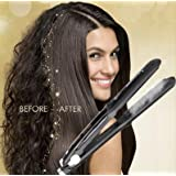 Steam Ceramic Hair Straightener Flat Iron - Professional Hair Salon Steam Styler Ionic Steamer 3-in-1 | Straightner Curler Flip-up | For Argan Oil Hair Treatment Vapor | Black Magic (Color: Black)