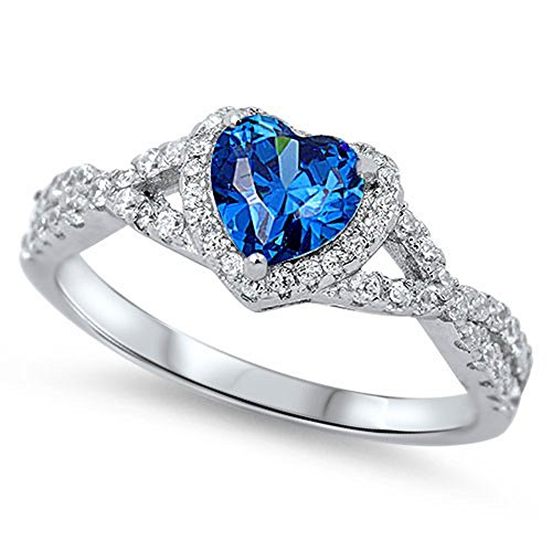 Blue Simulated Sapphire Heart Infinity Knot Promise Ring 925 Sterling Silver Size 6 (RNG15890-6)