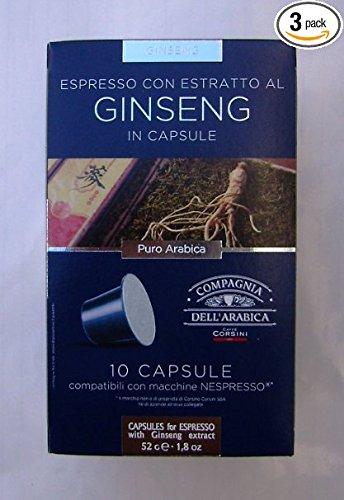 Buy Nespresso Compatible Capsules SINGLE ORIGIN Compagnia dell'Arabica - ARABICA and GINSENG - 10 caps / box (TOTAL: 30 caps) by Compagnia dell'Arabica - a Caffe Corsini S.p.A. company Group