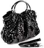 AUDREY Black Glitz Rectangle Sequin-Embellished PU Patent Leather HandBag Purse Evening Satchel Bag