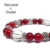 夏ブレス 天然石 水晶 赤珊瑚 レッドコーラル パワーストーンブレスレット 《SHOSEKI パワーストーン 天然石》