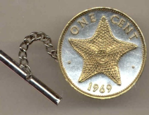 Gorgeous 2-Toned Bahamas Gold on Silver World Star fish Coin Tie-Tack-153TT