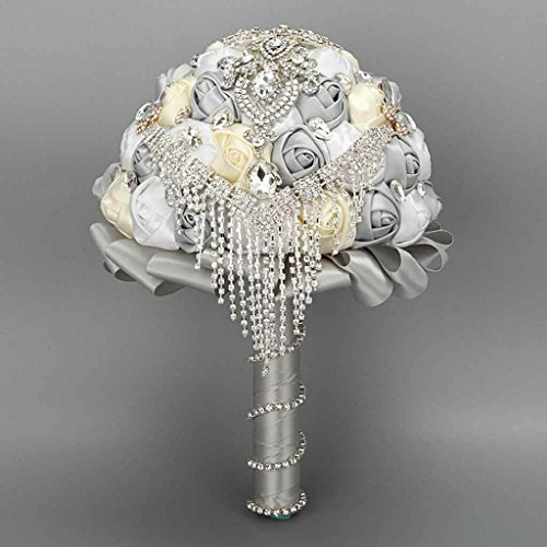 Wedding Bouquet ,Bride Holding Flowers , Water Drops (Silver gray + Beige + white) by Flyme