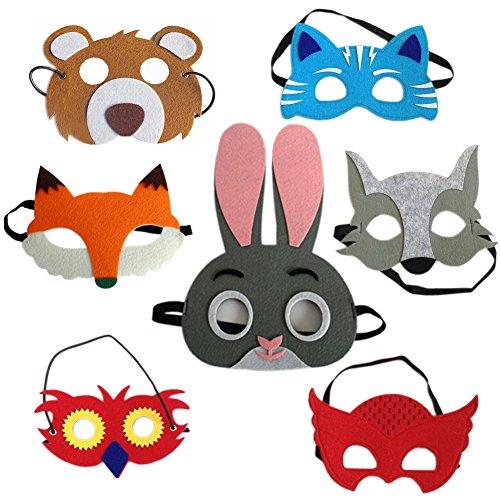 tiermasken 7 x masken f r kinder lustige maskerade masken set zum kindergeburtstag halloween. Black Bedroom Furniture Sets. Home Design Ideas