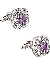 SOLZ Silver Crystal Violet Gem Cufflinks