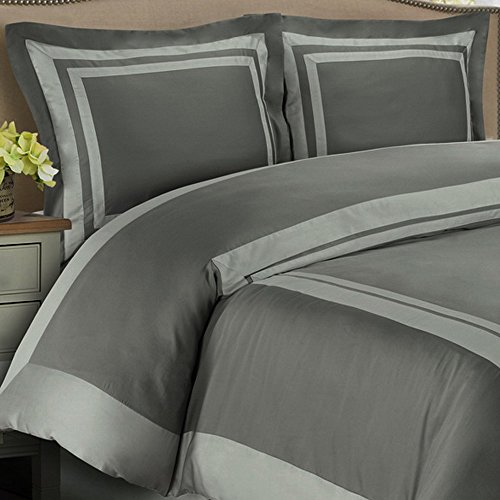 Modern Duvet Cover King/Cal King Gray Grey Design Silver Trim Pattern 100 Egyptian Cotton 3 Piece Bedding and Shams Pillowcases Set (Extra Large King Size Duvet Cover compare prices)