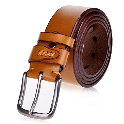 Vbiger-Vintage-Mens-Belt-1-12-38mm-Wide-Genuine-Leather-Smooth-Bridle-Waist-Strap