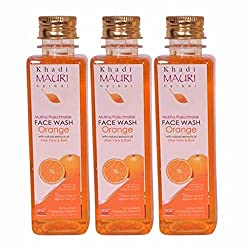 Khadi Mauri Orange Face Wash Pack of 3 Herbal Natural Ayurvedic 250 ml each