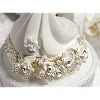 White and Silver Vintage Rose Pearl Wedding Cake Topper: Base Color: White with Silver Wiring