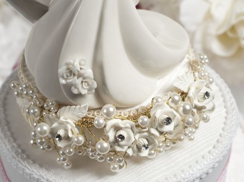 White and Silver Vintage Rose Pearl Wedding Cake Topper: Base Color: White with Silver Wiring 2