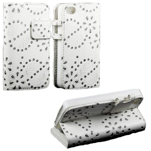 Mylife (Tm) White And Glittery Flowers Design - Textured Koskin Faux Leather (Card And Id Holder + Magnetic Detachable Closing) Slim Wallet For Iphone 4/4S (4G) 4Th Generation Touch Phone (External Rugged Synthetic Leather With Magnetic Clip + Internal Se