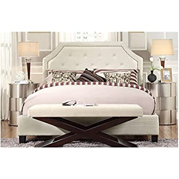 ModHaus Living Diamond Button Tufted Clipped Corners Off-White Linen Upholstered Queen Headboard and Bed Includes (TM) Pen