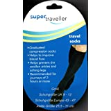 SUPER TRAVELLER COMPRESSION TRAVEL FLIGHT SOCKS Size 9-12, 43-47 Blackby Super Traveller