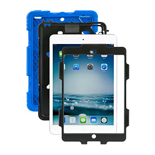 Ipad mini case,ACEGUARDER®ipad mini 2 case,ipad mini 3 case *Slim Military-Duty* Case for Rainproof Shock proof Anti-Dirt Drop Resistance Case with Back Clip for Apple Ipad mini 2/3 (Black-Blue) (Ad Mini Case compare prices)