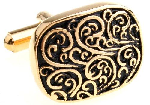 Black And Gold Engraved Vine Design Cufflink