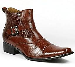 Delli Aldo M-606001 Men\'s Brown Dress Ankle Boots Shoes (12)