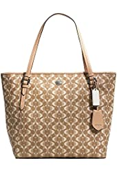 New Authentic COACH Dream Peyton Light Khaki/Tan Signature Large Tote