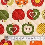 おしゃれリンゴのひみつ(アイボリー) キルティング生地 ハンドメイド 手作り用生地 0.5m単位でご注文いただけます。 T0152000
