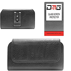 DMG Premium PU Leather Cell Phone Pouch Carrying Case with Belt Clip Holster for Lenovo A6000+ (Black) + Tempered Glass Screen Protector