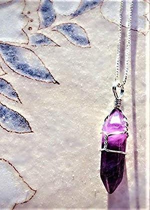BOUTIQUELOVIN Purple Amethyst Hexagonal Healing Crystals Stone Necklace 18 Silver Tone Box Chain (Color: Amethyst-Silver Tone Half Wrap)