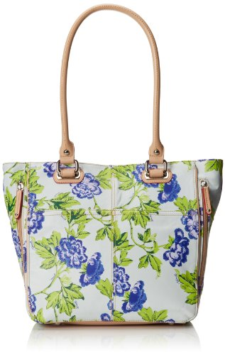Tignanello Bed Of Roses Tote Pebble Printed Leather Top Handle Bag,Blue Rose,One Size