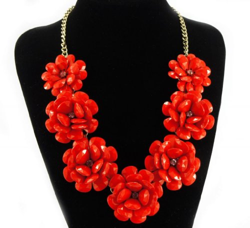 fit&wit Color Golden Plated Chain 7 Flowers Mint Statement Fashion Flower Necklace Red