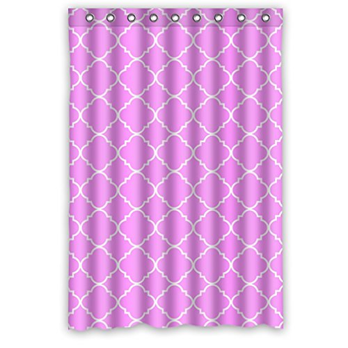 """Cool Quatrefoil Simple Pink And White Classic Reticular Waterproof Shower Curtain 48"""" X 72"""" front-925996"""