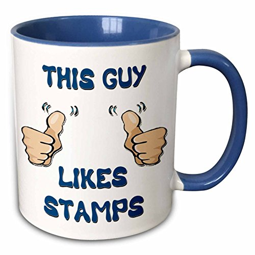 3dRose Blonde Designs This Guy Likes With Thumbs - This Guy Likes Stamps - 11oz Two-Tone Blue Mug (mug_150476_6)
