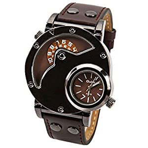 Oulm Male Quartz Wrist Watch Multi-Function Dual Movt Round Shaped Leather Band