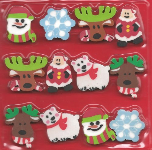 Christmas Holiday Eraser Set 12 Pc. Party Favors w/ Santa, Snowman & More!