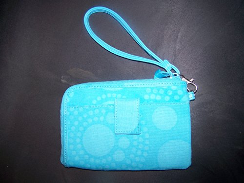 Thirty One Aqua Circle Spirals Wristlet Wallet front-753851