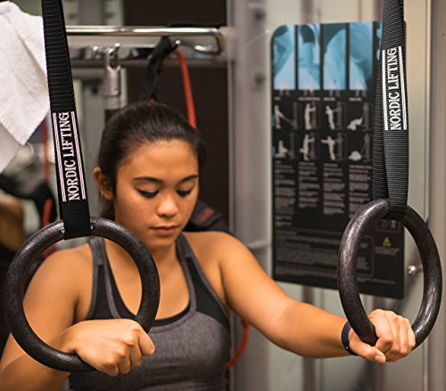 """Gymnastic Rings and Straps - HEAVY DUTY for CrossFit, Gymnastics, Strength & Fitness Training - Best Olympic Home Gym Set - PC Plastic is Stronger than Wood - Nordic Liftingâ""""¢"""