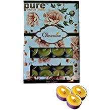 Pure Source India 24 Pcs Pack Of Scented Tea Light Candles Lemon Grass Fragrance Smokeless ,BURN TIME 3 HRS.