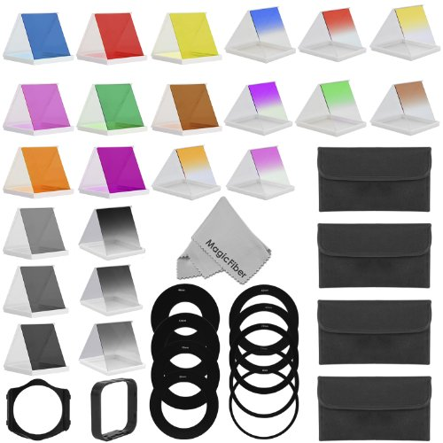 Complete Pro Square Filter Kit Compatible with Cokin P Series – Includes: 8 Graduated and 8 Full Color Filters (Red, Blue, Yellow, Pink, Green, Coffee, Orange, Purple) + 3 Graduated and 3 Full Neutral Density Filters (ND2, ND4, ND8) + 49, 52, 55, 58, 62, 67, 72 ,77, 82MM Adapter Rings + Filter Holder + Lens Hood + 4 Filter Carry Pouches + MagicFiber Microfiber Lens Cleaning Cloth