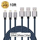 Winage 3Pack 10FT Ultra Long Nylon Braided iPhone Charging Cable USB Cord Charger for iPhone 7/ 7Plus/ SE/ 6s/ 6 /6 Plus/ 6s Plus/ 5s/ 5c/ 5/ iPad Air/ Mini/ iPod Nano/ Touch (Blue)