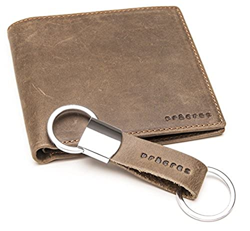 08. Men's Vintage Bifold Slim Wallet & Keychain Set : Genuine Cowhide Leather