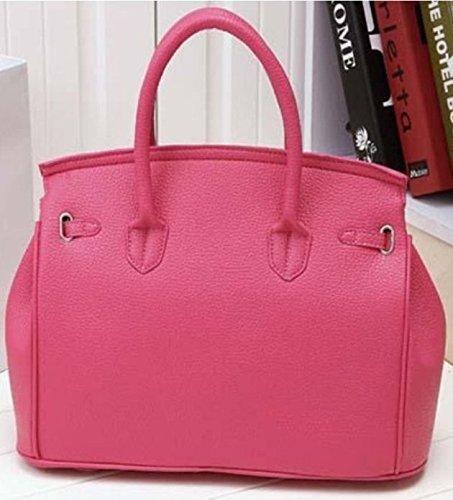 Maison De Decoration©Nouveau sac à main d'emballage de clef de cadenas de cuir de vache à Hobo de rose de la conception des femmes élégantes (rose)