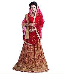 Womens red net semi-Stitched Lahenga choli(L531_pink_free size)
