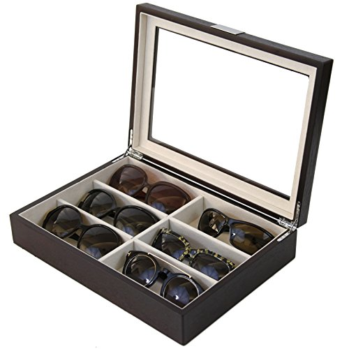 Tssg500Essbrn Sunglasses Case Storage 6 Glasses Espresso Wood Grain Finish Glass Window