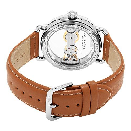 STUHRLING ORIGINAL Brücke Herren Automatik Uhr mit Rose Gold Zifferblatt Analog-Anzeige und braunem Lederband 976.02 4