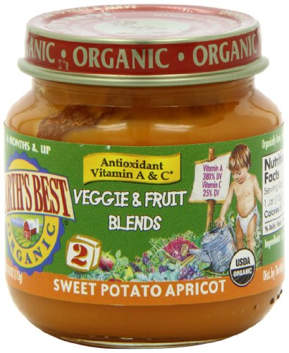 Earth'S Best Organic Veggie & Fruit Blends Baby Food, Sweet Potato Apricot, 4 Ounce (Pack Of 12)