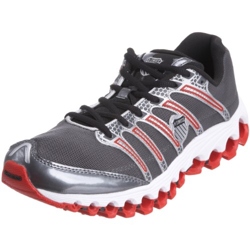 K-Swiss Men's Tubes Run 100 A Charcoal/Silver/Black/Fiery Red Trainer 02316-062-M 6 UK