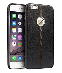 VORSON NC Apple iPhone 6 / 6S Premium Series Double Stitch Leather Shell with Metallic Logo Display Back Cover Black