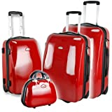 "redolz 4er Set Trolleys, Y38104, 75cm + 61cm + Cabin + Beautycase Hartschale Koffer, Super Light Edition, Rotvon ""redolz"""