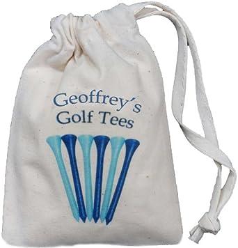 Personalised golf tee bag tiny blue drawstring cotton for Personalised golf shirts uk