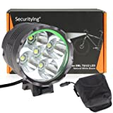 SecurityIng® 6000LM 5 x CREE XM-L T6 LED Waterproof 3 Modes Bicycle Light Headlamp, CREE LED Bicycle/Bike Lamp Headlight, Portable Rechargeable Bicycle LED Flashlight with 8000mAh Battery Pack Charger for Outdoor Riding, Camping and Other Activites