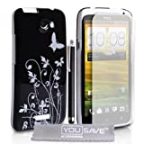 HTC One X Accessory Pack Stylish Black And Silver Butterfly Floral Pattern Hard Hybrid Case Cover With Stylus Pen Screen Protector Film And Grey Micro-Fibre Polishing Cloth