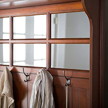 Cherry Entryway Hall Tree with Mirror Coat Hooks and Storage Bench