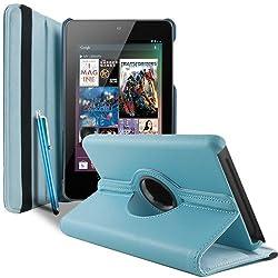 2010kharido 360 Degree Rotating Smart Leather Case Cover for Asus Google Nexus 7 1st gen 2012 Model Tablet Light Blue